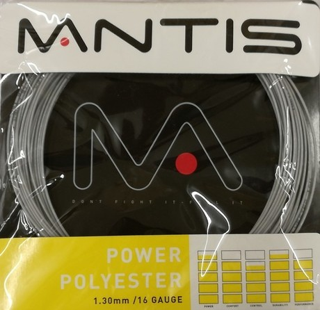 MATSS009V Mantis Tennis String Power Polyester 16G 12m Set silver